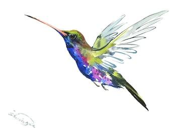 Flying Hummingbird, 12 X 9 in, original watercolor painting, flying bird art minimalist blue green