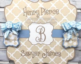 Twin Birth Announcement - Door Hanger - Personalized Polkadot Baby Announcement Sign For Hospital Door (Cream, Light Blue)