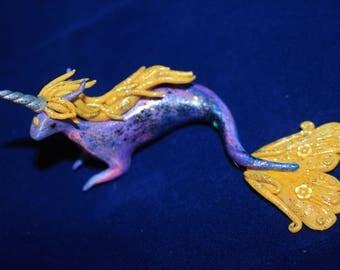 Mythical purple mermaid unicorn figurine