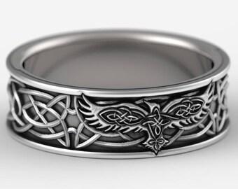 Sterling Silver Celtic Raven Ring, Raven Wedding Band, Mens Wedding Band, Irish Wedding, Raven Jewelry, Celtic Knot Ring, Custom Size 1161