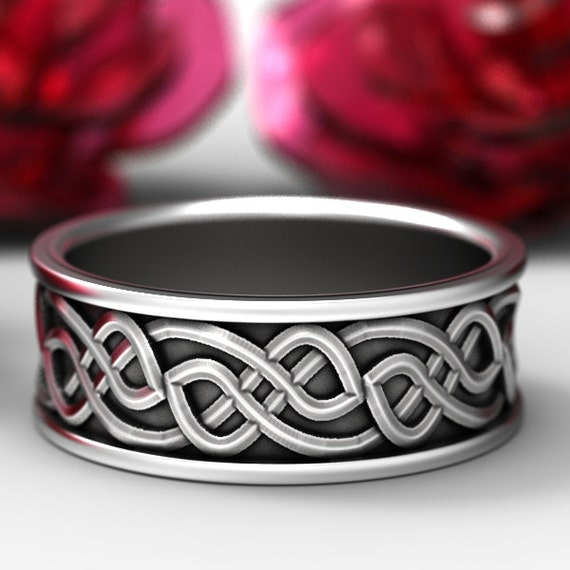 Personalized Ring Size in Celtic Wedding Ring With Raised Woven Knotwork Design in Sterling Silver, Handmade Gift CR-73b