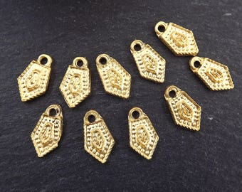 10 Mini Pointed Ethnic Tribal Charms - 22k Matte Gold Plated