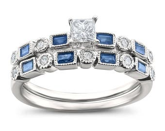 14k White Gold Princess-cut & Round Diamond and Baguette Sapphire Wedding Band Ring Set (3/4 cttw, H-I, I2)