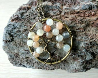 Moonstone Wire Wrapped Pendants, Yoga Tree of Life Pendants, Moonstone Necklace, Fertility Gifts, Mothers Day Gifts