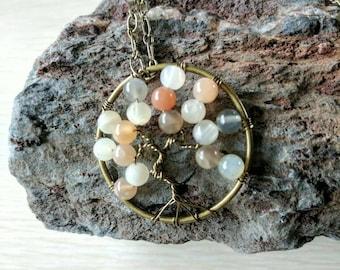 Moonstone Tree of Life Pendant, Reiki Pendant, Wire Wrapped Pendant, Gemstone Pendant, Tree of Life Pendant, Moonstone Necklace