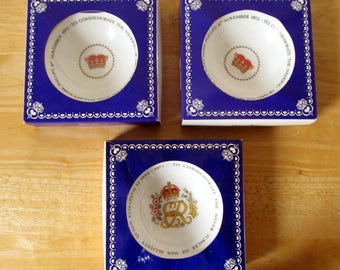 Lot of 3 British Royalty Souvenir Dishes Queen Elizabeth 1977 Silver Jubilee and Princess Anne 1973 Marriage