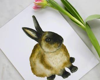 Brown Rabbit Watercolor Art Print