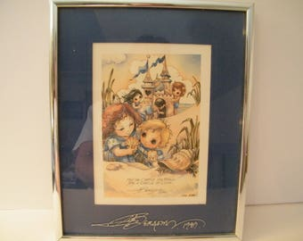 Jody Bergsma Print Castle of Love, Vintage Framed sentimental lithograph, numbered and double signed, wall decor, wedding gift keepsake