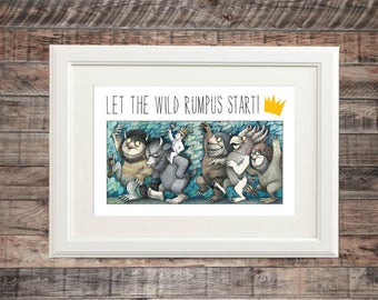 Where The Wild Things Are Inspired Wall Art | Poster Print, any size | Let The Wild Rumpus Start | Baby Nursery Kid Room Decoration