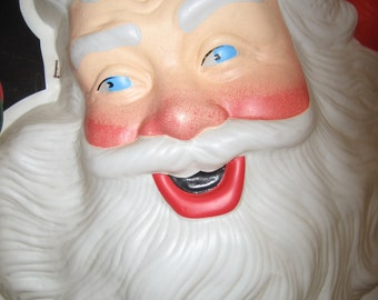 1940's LIGHTED SANTA FACE - Celluloid 16 Inch -  Molded Santa Claus face Christmas Decoration with Interior Light - Good Condition