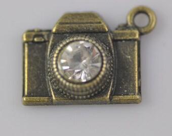 10pcs Antique Bronze Camera Charms Pendant 15x20mm Antique Bronze Camera Charms Connector with Rhinestone