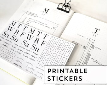 Printable PDF - Week and task Stickers for Journal and Planners / Kiss-cut Planner stickers / Luxe, Modern, Chic designs