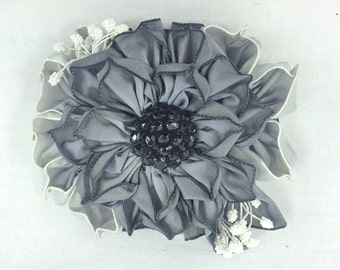 Gray Ombre Ribbon Flower Vintage Style Millinery Accessory - Funeral Ribbon Corsage