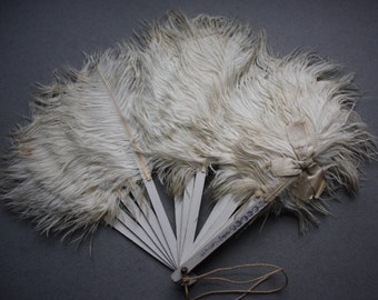 Antique Ostrich Feather and Celluloid Fan