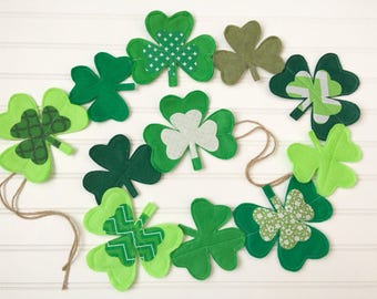 Made-To-Order Felt & Fabric Shamrock Garland - St. Patrick's Day, Green, Holiday, Decor, Party, Mantel, Photography, Prop, Decoration