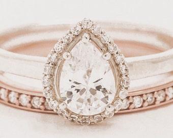 UNIQUE engagement ring // pear halo engagement ring // custom engagement ring // halo engagement ring // round halo engagement ring //