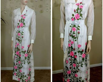 Vintage 70s hand pain flowers dress,sheer sleeves by Alfred Shaheen size 8