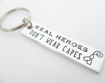 Military Gift, Real Heroes, Don't wear capes, Dog Tags, Gift for Air Force, Navy, Army, Marines, Soldier Girlfriend Wife, Deployment Gift