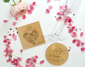 1x Engraved Mother's Day Wooden Drink 4 Coaster Set