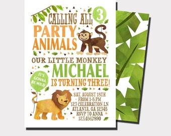 Jungle Birthday Invitation   Zoo Birthday  Safari Animal Birthday Invitation   Party Animal Birthday Invitation    Wild One