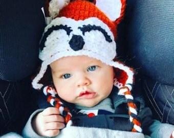 Crochet Fox Hat, Newborn Photography Prop,