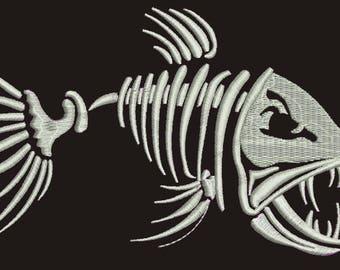 Fish skeleton / Fisherman \ two sizes embroidery design
