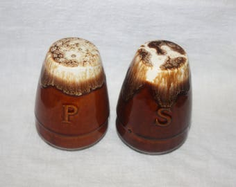 Vintage Brown Drip Glaze Salt and Pepper Shakers Marked USA