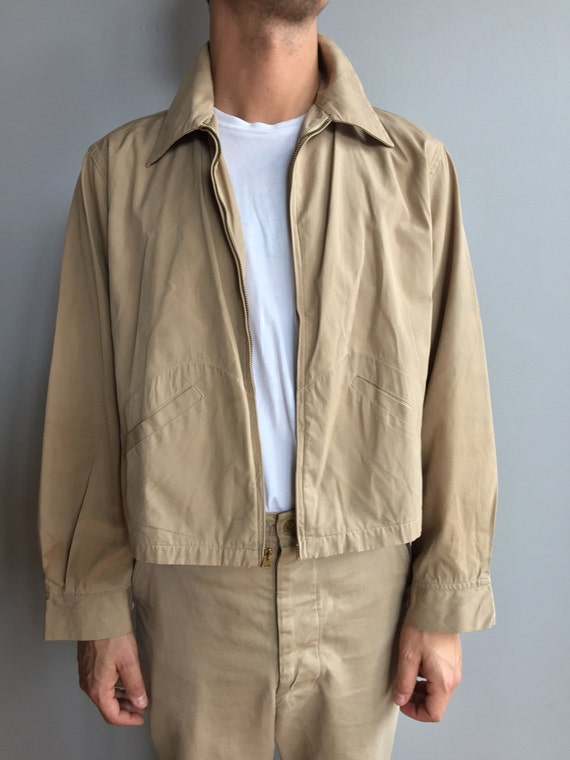 1950's Tan Workman's Coat Delivery Style Jacket with two front slash pockets