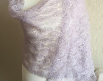 Mohair and Silk Lace Shawl in Pearl Grey/ Light Lavender