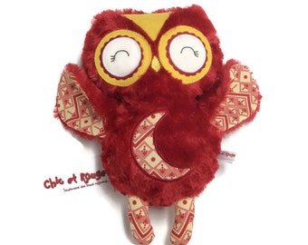 "PROMO toy 11.5 ""Red Moon embroidery applique, minky, cotton, wool felt"