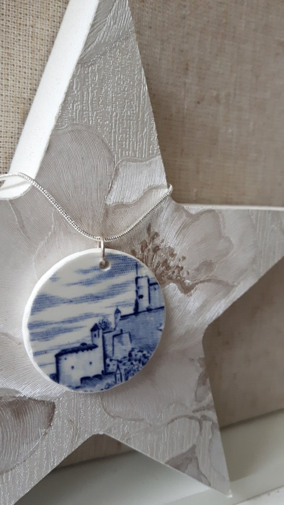 Broken china vintage porcelain pendant. China shard pendant. Silver snake chain.  Unusual pendant.  Floral pendant  Handmade in Wales UK.