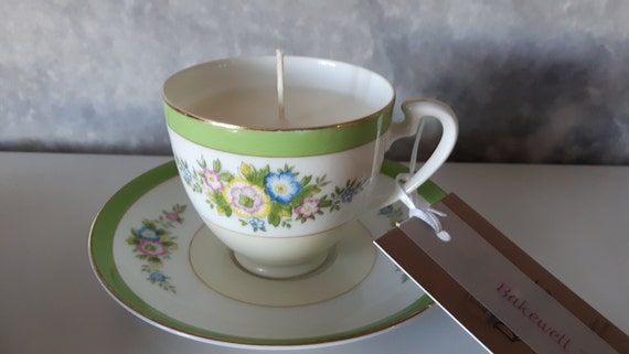 Hand poured scented soy wax vegan vintage tea cup candle, scented with Bakewell tart.