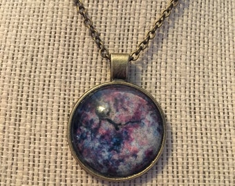 "24"" Pink&Blue Forest Sky Glass Pendant Necklace"