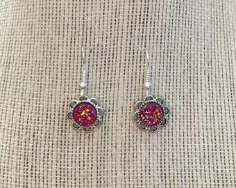 8mm Hot Pink Faux Druzy Dangle Earrings