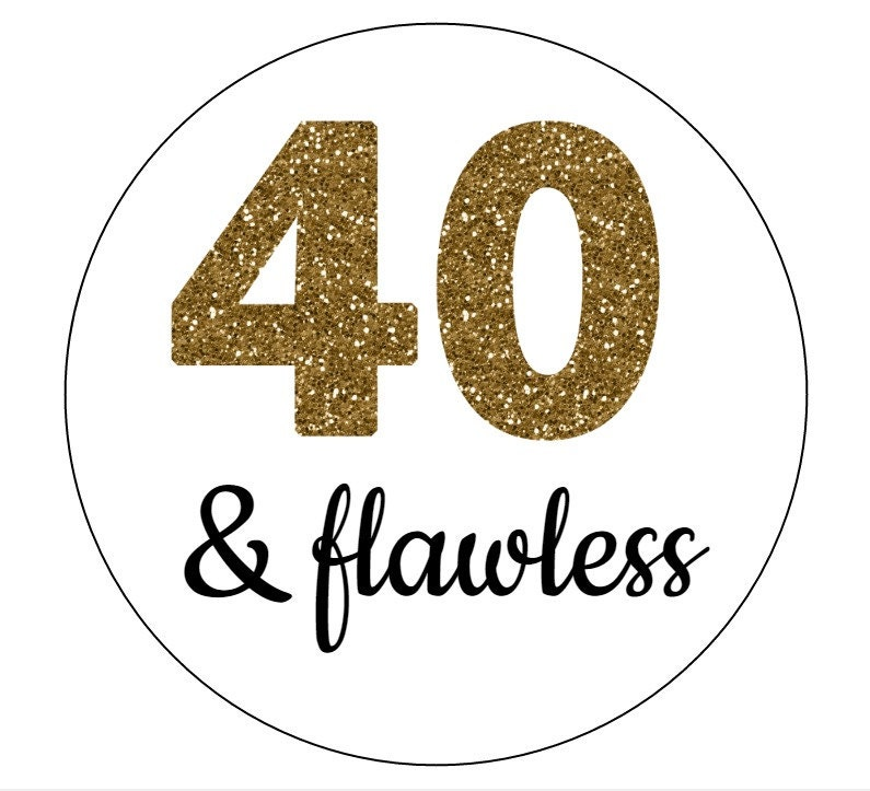 20 40 Amp Flawless Stickers Gold Letters Birthday Favors