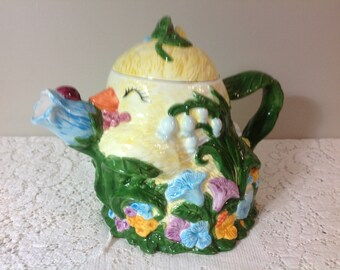 Lil Chick Teapot Flower Teapot Chick and Flower Teapot 1995 Brushcreek