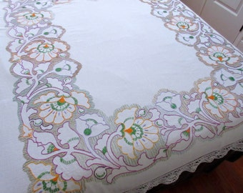 Hand Embroidered  Vintage Floral Linen Tablecloth Vintage Linens