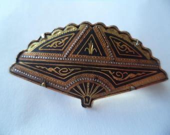 Vintage Unsigned Damascene Small Art Deco Fan Brooch/Pin