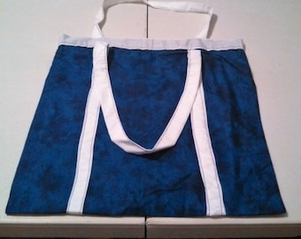 Blue with White Tote Bag
