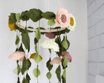 Enchanting Floating Wool Felt Flower/Bloom Baby Girl Mobile Chandelier - Nursery/Crib Decor Girls Room - Boho Flower Anemone Mobile