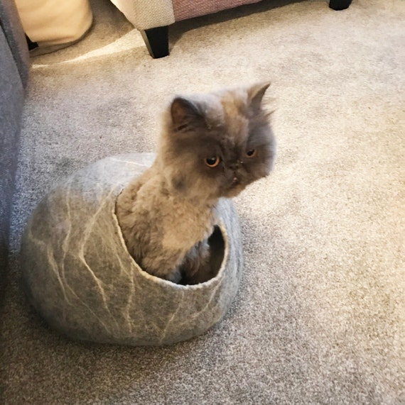 Cat Bed / Cave Cocoon / Cat House / Grey White marble / Ideal cat lover gift