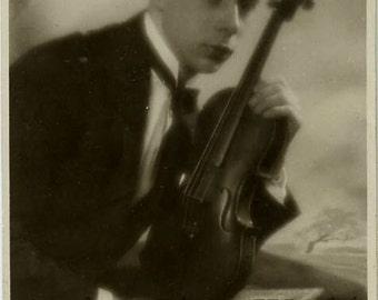 Young man w violin antique art photo