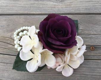 Corsage, Wedding corsage, Prom corsage, Rose, Hydrangea, Wrist corsage, Wristlet