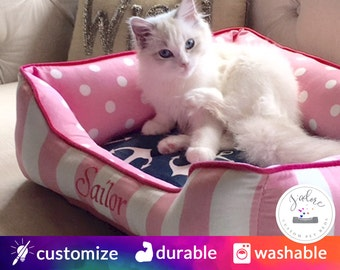 Cat Bed - Design Your Own!  Polka Dots, Pink, Sailor, Navy  - Custom Cat Bed | Washable