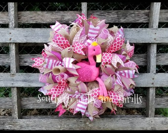 Flamingo Wreath, Summer Wreath, Beach Wreath, Pink Wreath, Mesh Wreath, Front Door Wreath, Outdoor Wreath, Everyday Wreath, Deco Mesh