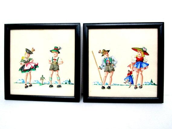 Vintage German Children, Hand Painted, Framed, German Children in Costume, German Wall Decor, West Germany, Signed