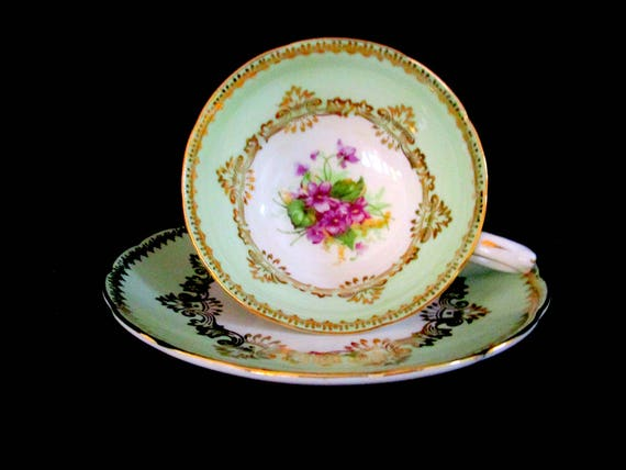 Tea Cup and Saucer Set, Westbrook Sweet Violets, Made in England, Hand Painted, Mint Green and Violet, Gift for Tea Lover