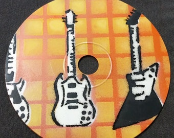 Guitar Stencil Art on a Compact Disc