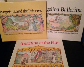 Set of 3 Angelina Ballerina Books by Katharine Holabird