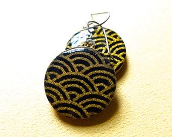 Black Earrings, Gold Earrings, Japanese Paper Earrings, Chiyogami Earrings, Lightweight Earrings, Elegant jewelry, Elegant earrings